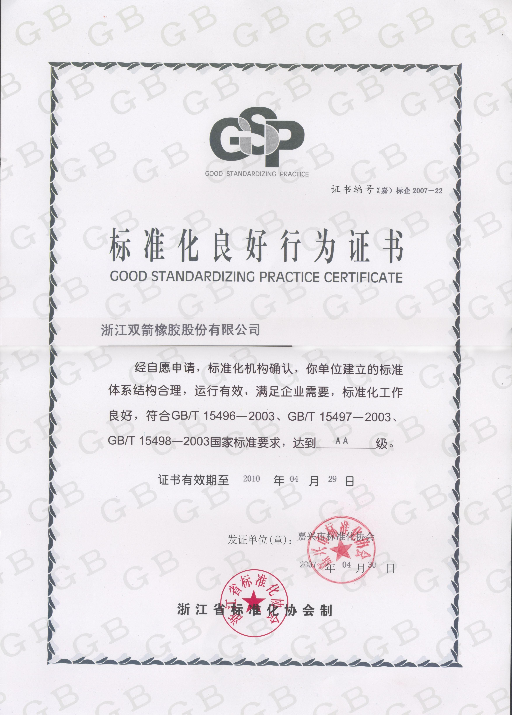 Good Stanardizing Practice Certificate